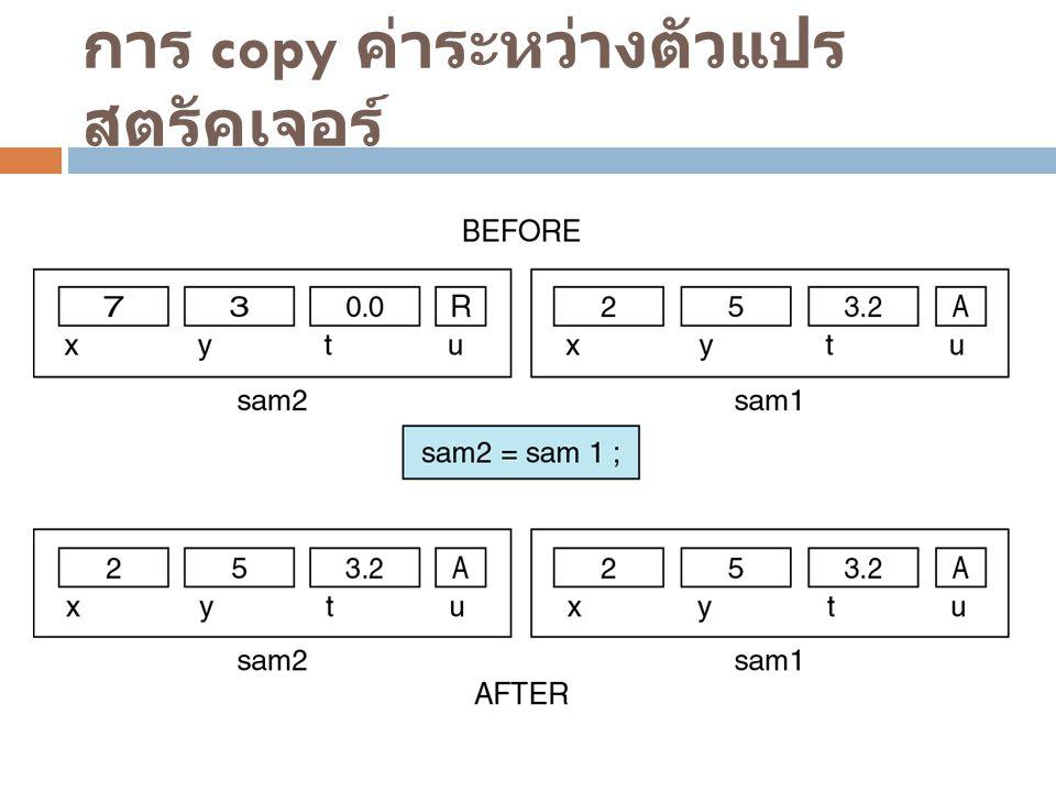 การ copy ค่าระหว่างตัวแปร สตรัคเจอร์