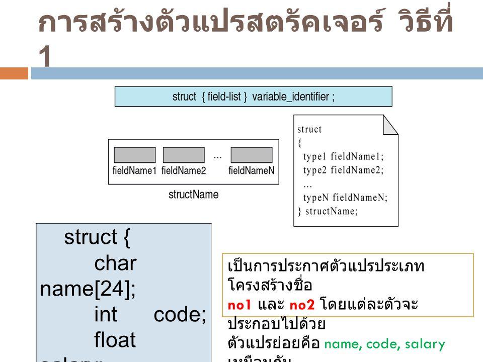 การสร้างตัวแปรสตรัคเจอร์ วิธีที่ 1 struct { char name[24]; int code; float salary; } no1, no2; เป็นการประกาศตัวแปรประเภท โครงสร้างชื่อ no1 และ no2 โดย