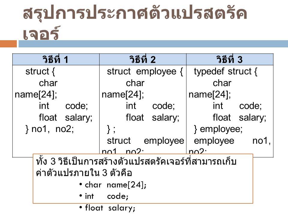 สรุปการประกาศตัวแปรสตรัค เจอร์ วิธีที่ 1 วิธีที่ 2 วิธีที่ 3 struct { char name[24]; int code; float salary; } no1, no2; struct employee { char name[2