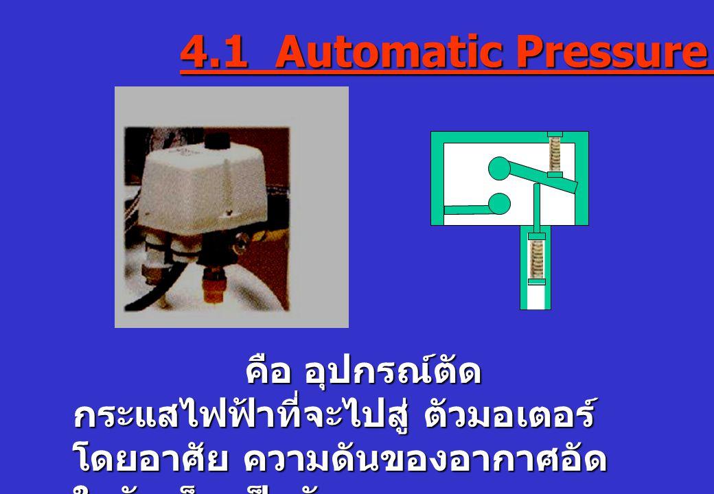4.1 Automatic Pressure Switch คือ อุปกรณ์ตัด กระแสไฟฟ้าที่จะไปสู่ ตัวมอเตอร์ คือ อุปกรณ์ตัด กระแสไฟฟ้าที่จะไปสู่ ตัวมอเตอร์ โดยอาศัย ความดันของอากาศอั
