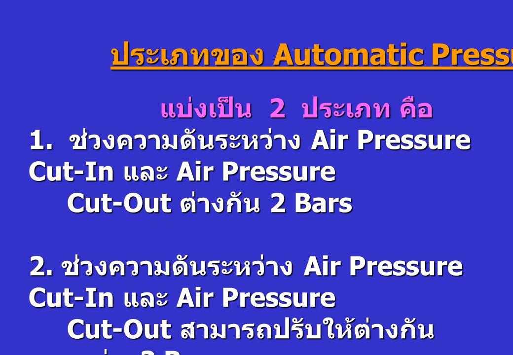 ประเภทของ Automatic Pressure Switch แบ่งเป็น 2 ประเภท คือ แบ่งเป็น 2 ประเภท คือ 1. ช่วงความดันระหว่าง Air Pressure Cut-In และ Air Pressure Cut-Out ต่า
