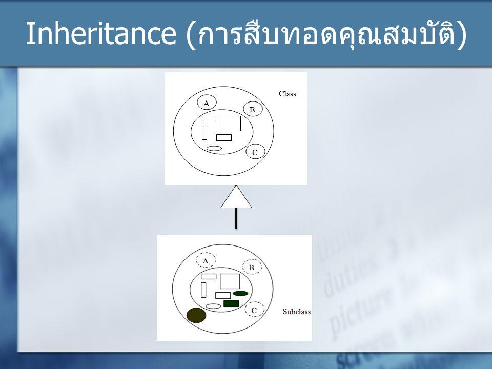 Inheritance ( การสืบทอดคุณสมบัติ )