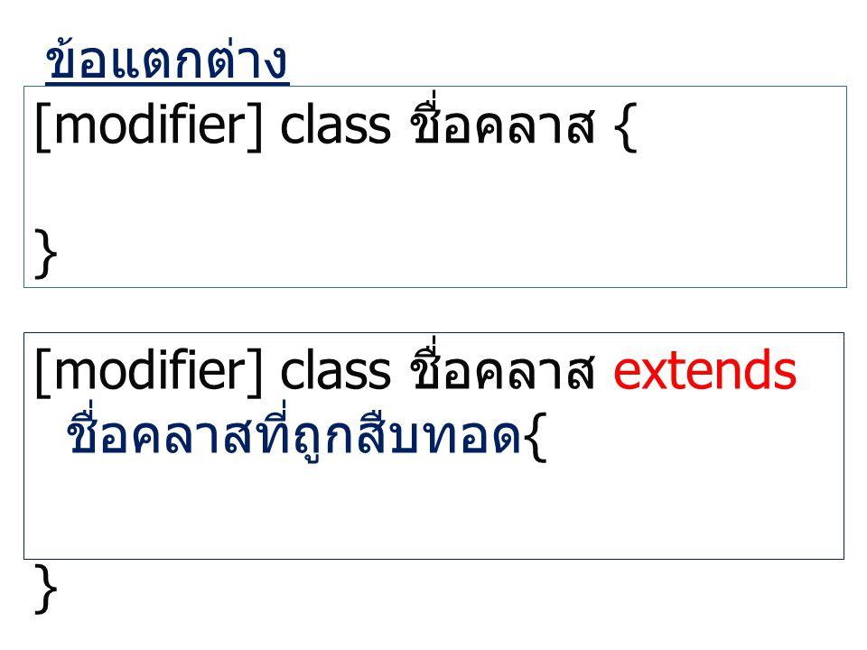 ข้อแตกต่าง [modifier] class ชื่อคลาส { } [modifier] class ชื่อคลาส extends ชื่อคลาสที่ถูกสืบทอด { }