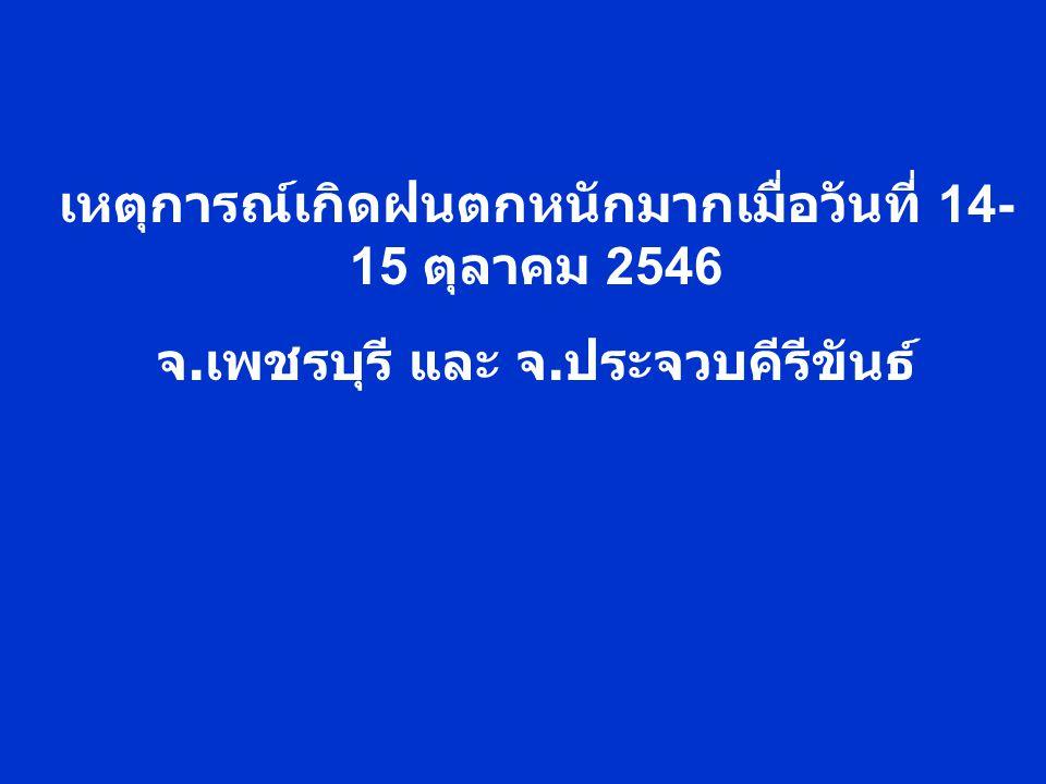 เหตุการณ์เกิดฝนตกหนักมากเมื่อวันที่ 14- 15 ตุลาคม 2546 จ. เพชรบุรี และ จ. ประจวบคีรีขันธ์