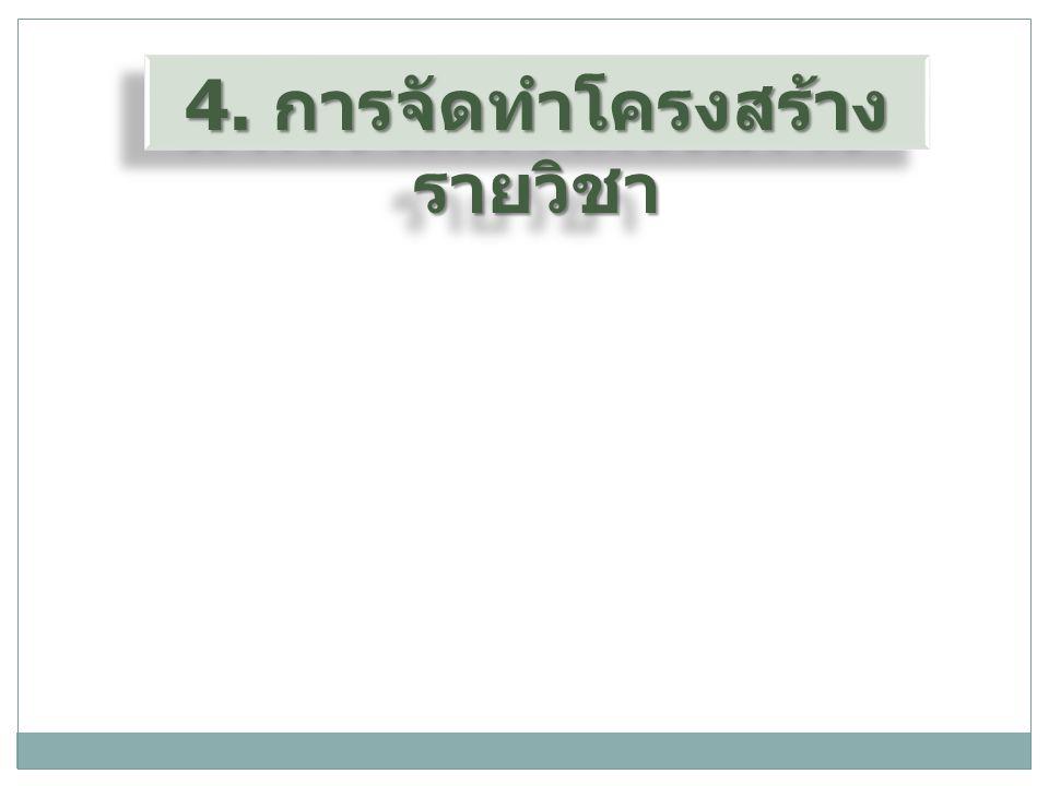 4. การจัดทำโครงสร้าง รายวิชา