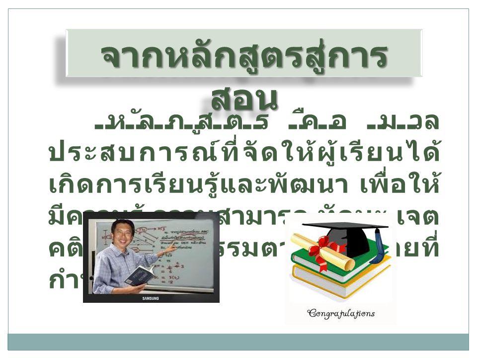 ขั้นตอนการแปลง หลักสูตรไปสู่การสอน 1.ศึกษาทำความเข้าใจเอกสาร หลักสูตร 2.