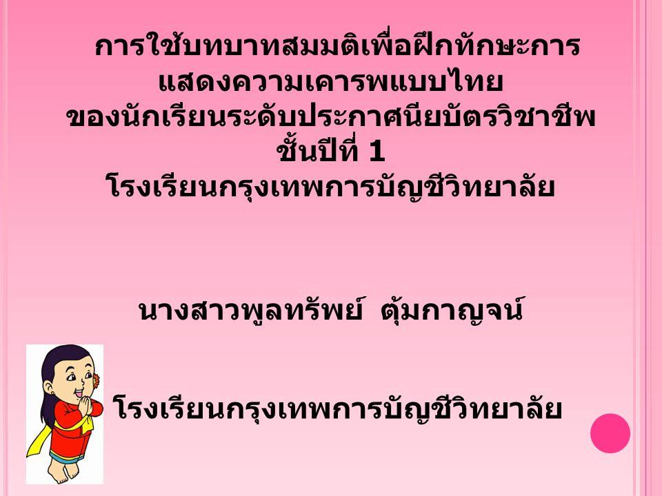 การใช้บทบาทสมมติเพื่อฝึกทักษะการ แสดงความเคารพแบบไทย ของนักเรียนระดับประกาศนียบัตรวิชาชีพ ชั้นปีที่ 1 โรงเรียนกรุงเทพการบัญชีวิทยาลัย นางสาวพูลทรัพย์ ตุ้มกาญจน์ โรงเรียนกรุงเทพการบัญชีวิทยาลัย