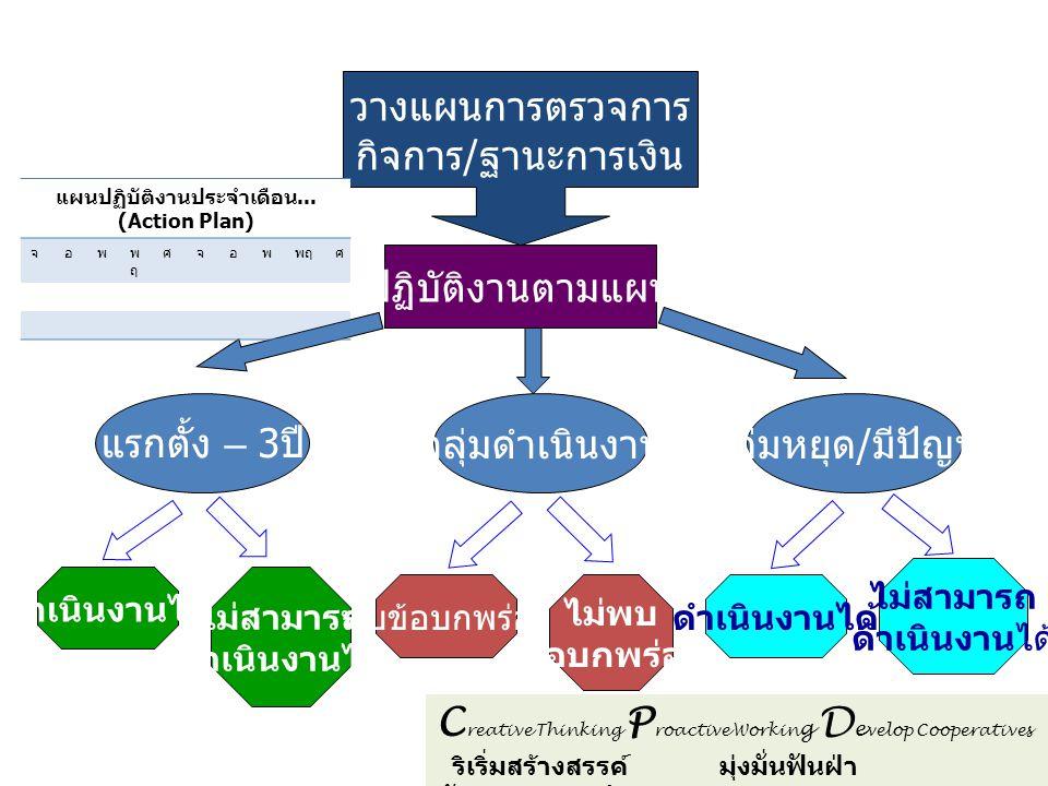 C reative Thinking P roactive Workin g D e velop Cooperatives ริเริ่มสร้างสรรค์ มุ่งมั่นฟันฝ่า พัฒนาสหกรณ์ วางแผนการตรวจการ กิจการ / ฐานะการเงิน ปฏิบั