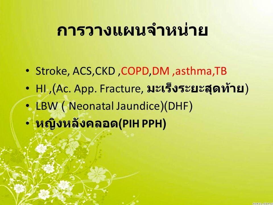 การวางแผนจำหน่าย Stroke, ACS,CKD,COPD,DM,asthma,TB HI,(Ac. App. Fracture, มะเร็งระยะสุดท้าย ) LBW ( Neonatal Jaundice)(DHF) หญิงหลังคลอด (PIH PPH)