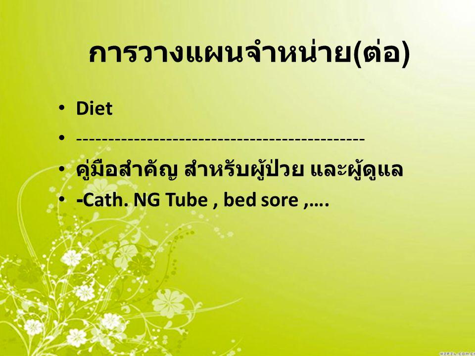 การวางแผนจำหน่าย ( ต่อ ) Diet --------------------------------------------- คู่มือสำคัญ สำหรับผู้ป่วย และผู้ดูแล -Cath. NG Tube, bed sore,….
