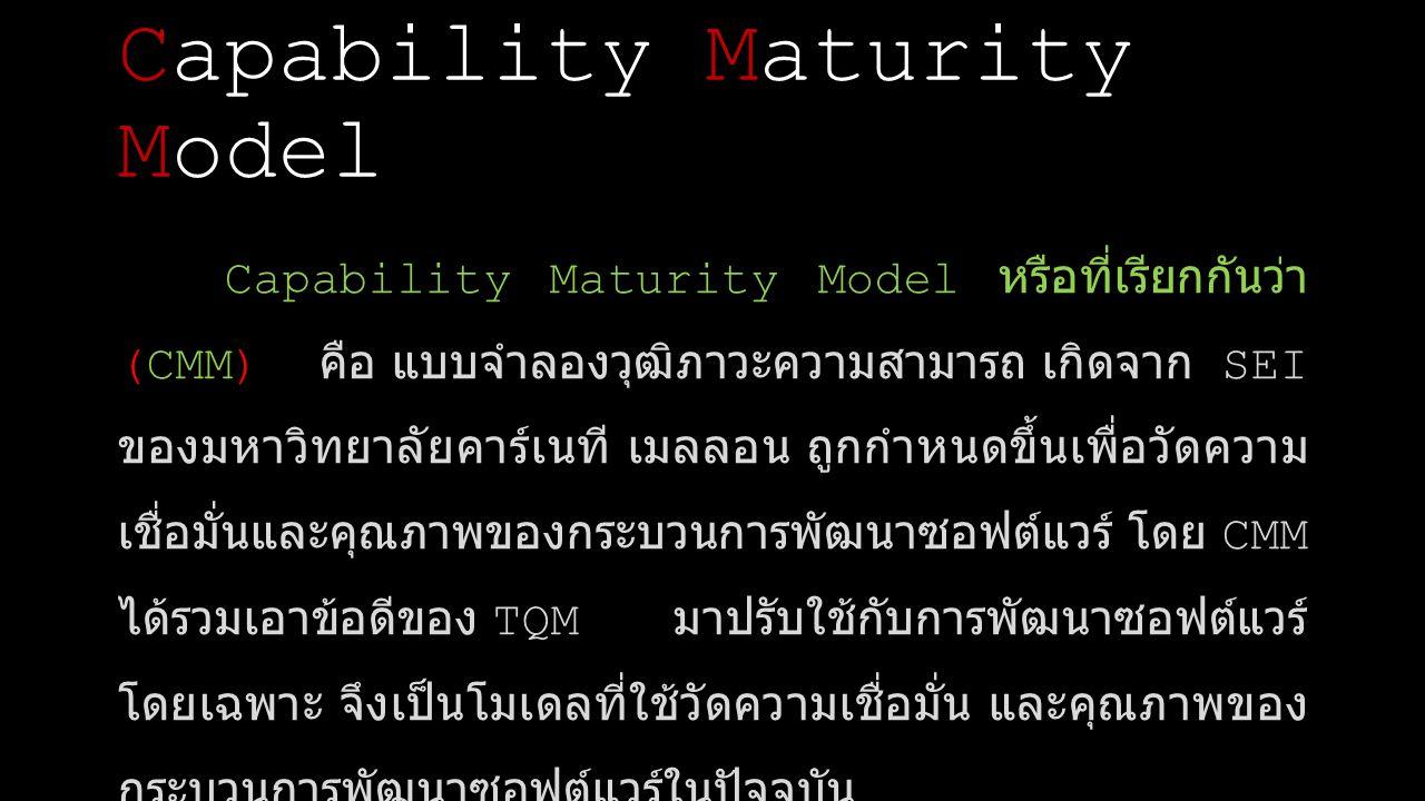 ระดับเริ่มต้น เรียกว่า Initial Level ระดับจัดทำโครงการเบื้องต้น เรียกว่า Repeatable Level ระดับที่มีการกำหนดขึ้นอย่างชัดเจน เรียกว่า Defined Level ระดับมีการจัดการ เรียกว่า Managed Level ระดับปรับปรุงให้เหมาะสมที่สุด เรียกว่า Optimizing Level ระดับมาตรฐานของ CMM