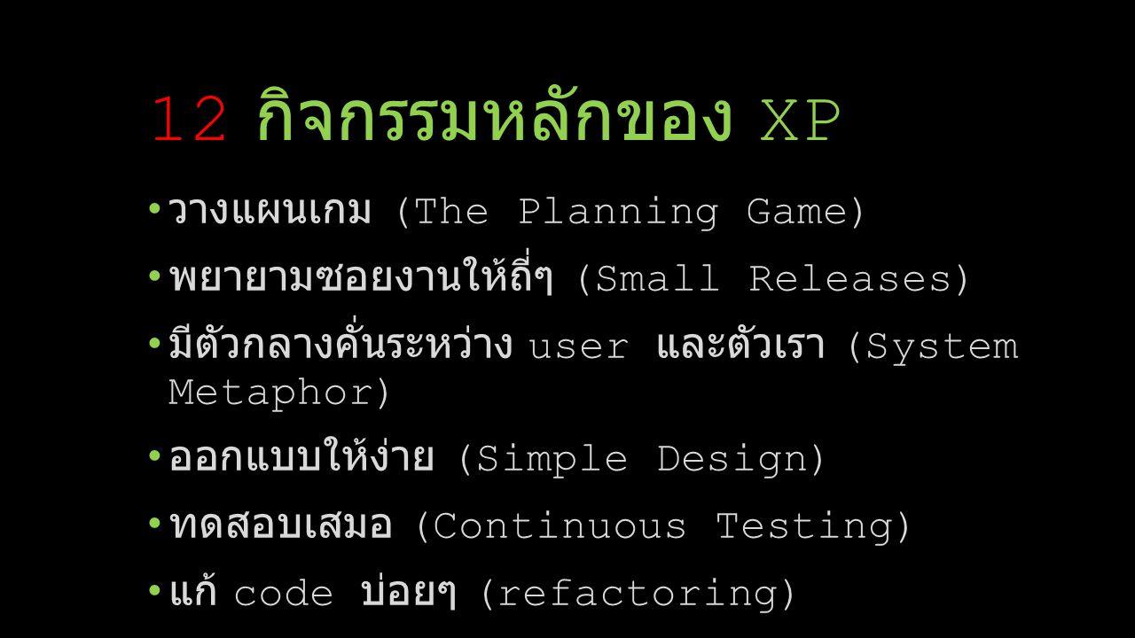 ทำงานเป็นคู่ (pair programming) Team code ownership ทำการรวบรวมงานอย่างต่อเนื่อง (Continuous Integration) ทำงานไปเรื่อยๆ ไม่หักโหม ห้ามว่าง (40-Hour- work-week) มองทีมเป็นหนึ่ง (On-site Customer) ใช้มาตรฐานการ code แบบเดียวกัน (Coding Standards) 12 กิจกรรมหลักของ XP ( ต่อ )