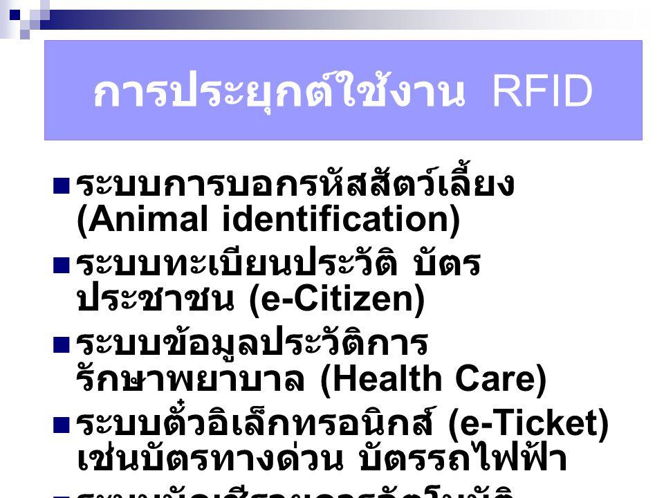 การประยุกต์ใช้งาน RFID ระบบการบอกรหัสสัตว์เลี้ยง (Animal identification) ระบบทะเบียนประวัติ บัตร ประชาชน (e-Citizen) ระบบข้อมูลประวัติการ รักษาพยาบาล