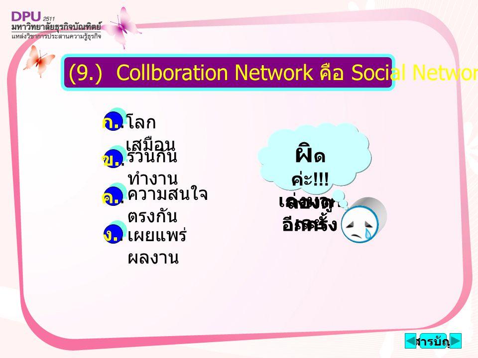 โลก เสมือน ร่วนกัน ทำงาน ความสนใจ ตรงกัน เผยแพร่ ผลงาน สารบัญ (9.) Collboration Network คือ Social Network แบบใด ก..ก..