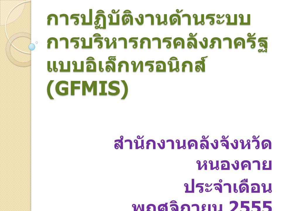 การปฏิบัติงานด้านระบบ การบริหารการคลังภาครัฐ แบบอิเล็กทรอนิกส์ (GFMIS) สำนักงานคลังจังหวัด หนองคาย ประจำเดือน พฤศจิกายน 2555 ปีงบประมาณ พ. ศ. 2556