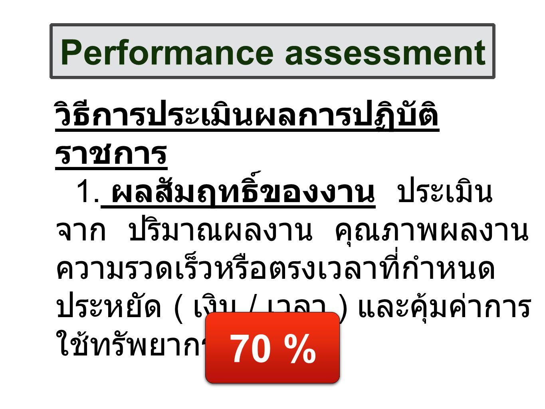 Performance assessment วิธีการประเมินผลการปฏิบัติ ราชการ 1. ผลสัมฤทธิ์ของงาน ประเมิน จาก ปริมาณผลงาน คุณภาพผลงาน ความรวดเร็วหรือตรงเวลาที่กำหนด ประหยั