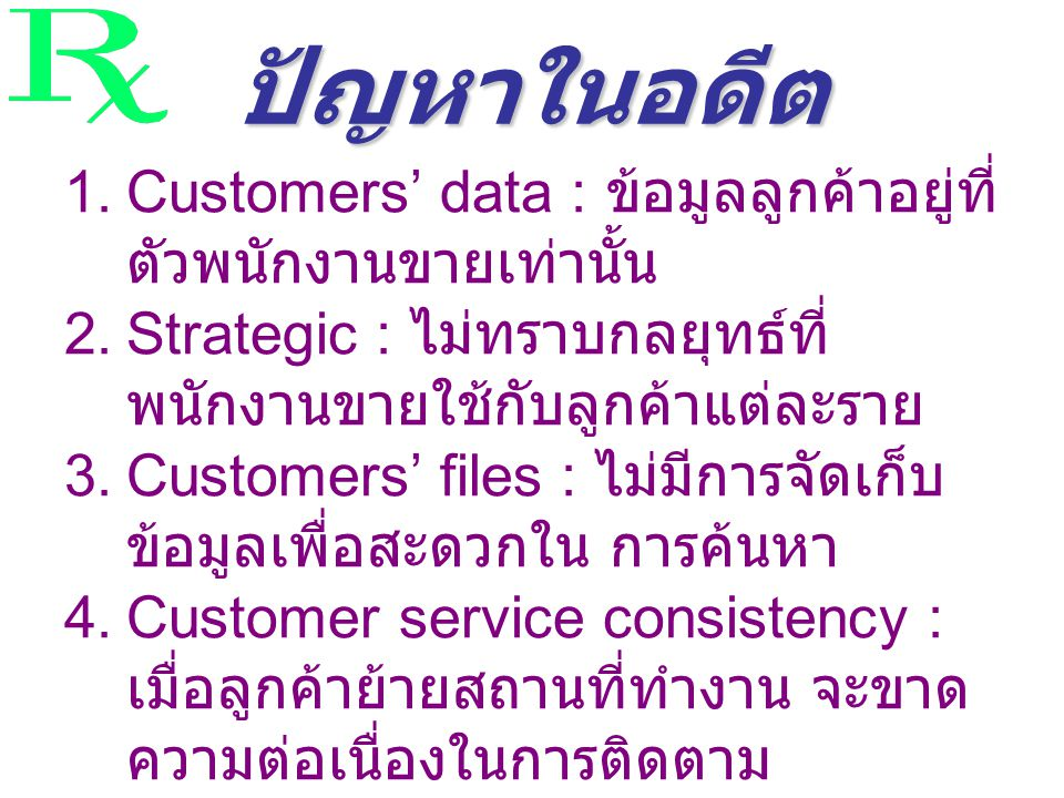 ปัญหาในอดีต 1.Customers' data : ข้อมูลลูกค้าอยู่ที่ ตัวพนักงานขายเท่านั้น 2.Strategic : ไม่ทราบกลยุทธ์ที่ พนักงานขายใช้กับลูกค้าแต่ละราย 3.Customers' files : ไม่มีการจัดเก็บ ข้อมูลเพื่อสะดวกใน การค้นหา 4.Customer service consistency : เมื่อลูกค้าย้ายสถานที่ทำงาน จะขาด ความต่อเนื่องในการติดตาม 5.Data accessing : การเข้าถึงข้อมูล เพื่อประสานงานกับผู้แทนขาย ทำ ไม่ได้ตลอดเวลา รู้ปัญหาเมื่อสายแก้ ไม่ทัน
