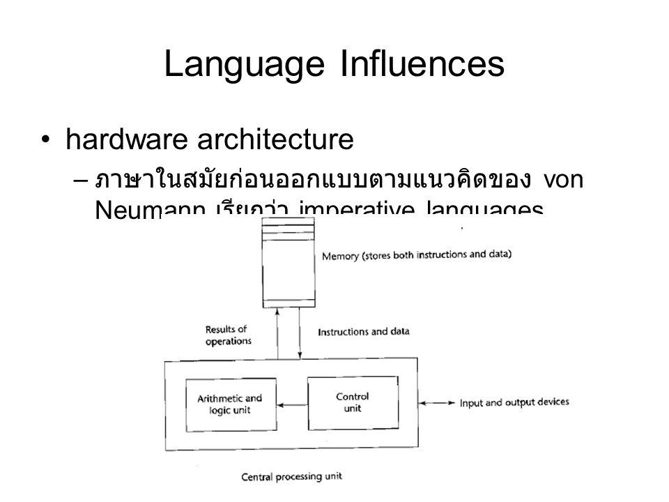 Language Influences hardware architecture – ภาษาในสมัยก่อนออกแบบตามแนวคิดของ von Neumann เรียกว่า imperative languages