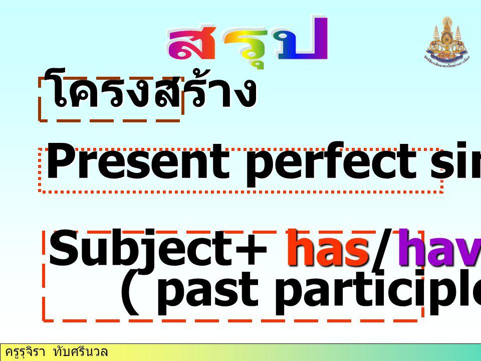 ครูรุจิรา ทับศรีนวล โครงสร้าง Subject+ has/have+ verb 3 ( past participle ) ( past participle ) Present perfect simple Tense