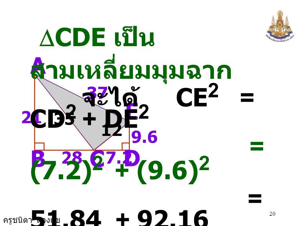 ครูชนิดา ดวงแข 19 A B D C E 287.2 37 21 วิธีทำ  ABC เป็น สามเหลี่ยมมุมฉาก จะได้ AC 2 = AB 2 + BC 2 = 21 2 + 28 2 = 441 + 784 = 1,225 AC = 35 35