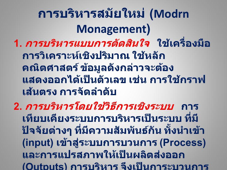 การบริหารสมัยใหม่ (Modrn Monagement) 1. การบริหารแบบการตัดสินใจ ใช้เครื่องมือ การ วิเคราะห์เชิงปริมาณ ใช้หลักคณิตศาสตร์ ข้อมูล ดังกล่าวจะต้องแสดงออกได