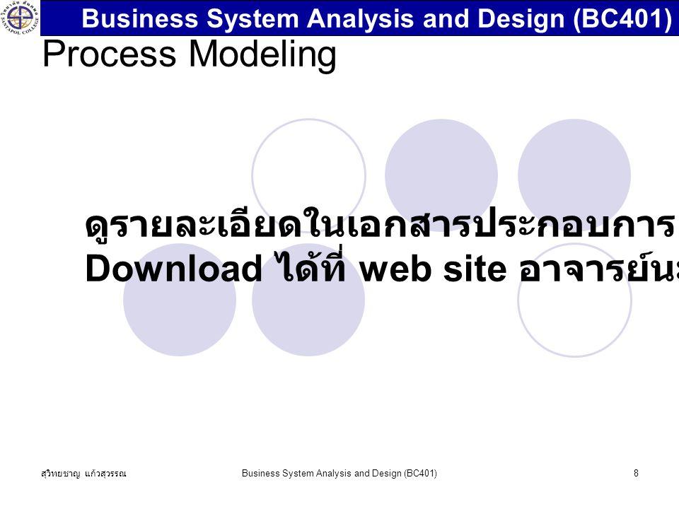สุวิทยชาญ แก้วสุวรรณ Business System Analysis and Design (BC401)8 Process Modeling ดูรายละเอียดในเอกสารประกอบการสอนซึ่งสามารถ Download ได้ที่ web site อาจารย์นะครับ Business System Analysis and Design (BC401)