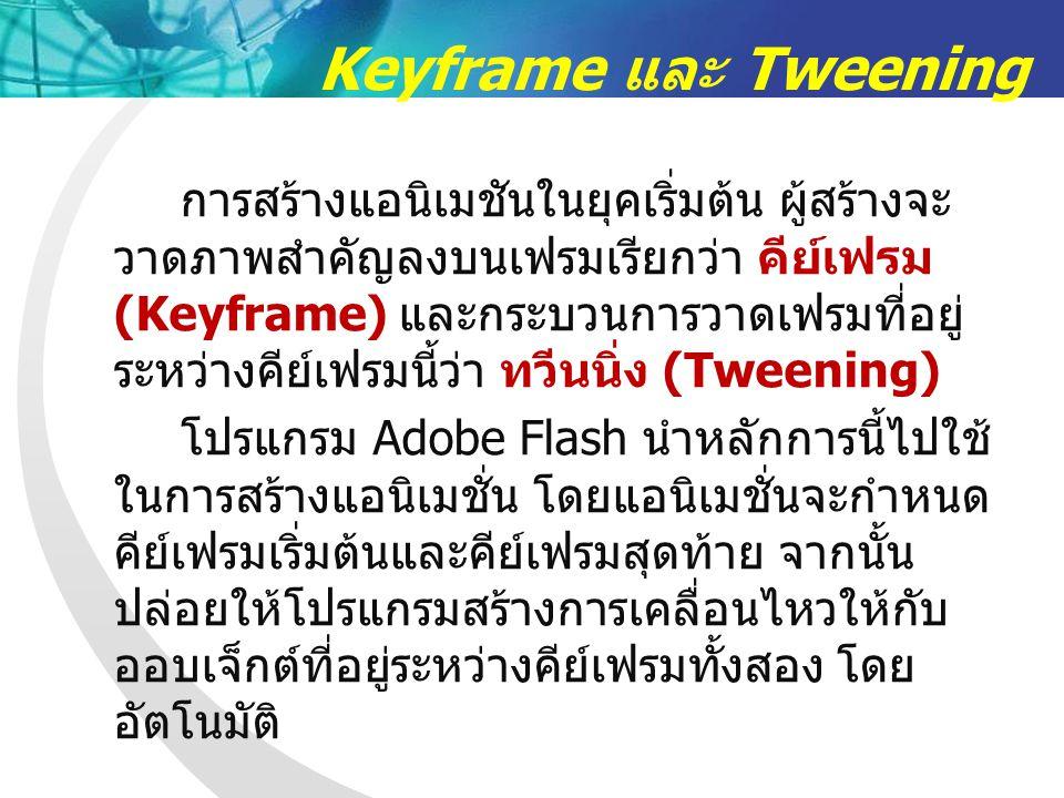 Keyframe และ Tweening การสร้างแอนิเมชันในยุคเริ่มต้น ผู้สร้างจะ วาดภาพสำคัญลงบนเฟรมเรียกว่า คีย์เฟรม (Keyframe) และกระบวนการวาดเฟรมที่อยู่ ระหว่างคีย์เฟรมนี้ว่า ทวีนนิ่ง (Tweening) โปรแกรม Adobe Flash นำหลักการนี้ไปใช้ ในการสร้างแอนิเมชั่น โดยแอนิเมชั่นจะกำหนด คีย์เฟรมเริ่มต้นและคีย์เฟรมสุดท้าย จากนั้น ปล่อยให้โปรแกรมสร้างการเคลื่อนไหวให้กับ ออบเจ็กต์ที่อยู่ระหว่างคีย์เฟรมทั้งสอง โดย อัตโนมัติ