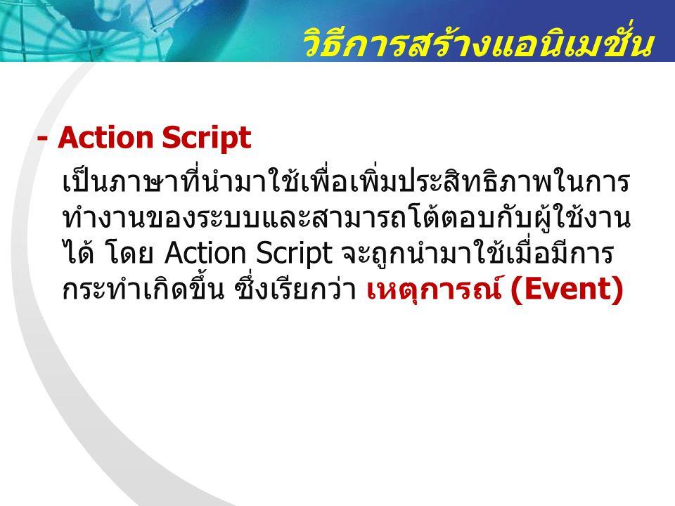 วิธีการสร้างแอนิเมชั่น - Action Script เป็นภาษาที่นำมาใช้เพื่อเพิ่มประสิทธิภาพในการ ทำงานของระบบและสามารถโต้ตอบกับผู้ใช้งาน ได้ โดย Action Script จะถูกนำมาใช้เมื่อมีการ กระทำเกิดขึ้น ซึ่งเรียกว่า เหตุการณ์ (Event)