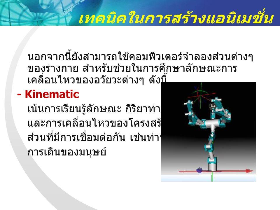 เทคนิคในการสร้างแอนิเมชั่น นอกจากนี้ยังสามารถใช้คอมพิวเตอร์จำลองส่วนต่างๆ ของร่างกาย สำหรับช่วยในการศึกษาลักษณะการ เคลื่อนไหวของอวัยวะต่างๆ ดังนี้ - Kinematic เน้นการเรียนรู้ลักษณะ กิริยาท่าทาง และการเคลื่อนไหวของโครงสร้าง ส่วนที่มีการเชื่อมต่อกัน เช่นท่าทาง การเดินของมนุษย์