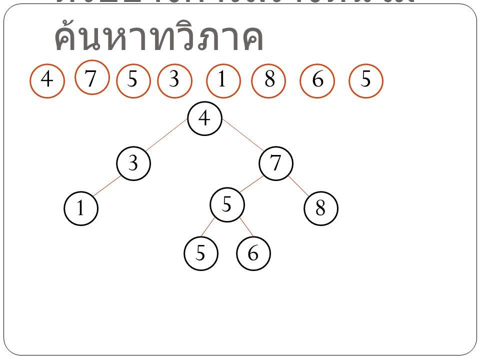 ตัวอย่างการสร้างต้นไม้ ค้นหาทวิภาค 4 7 531865 4 7 5 3 18 65