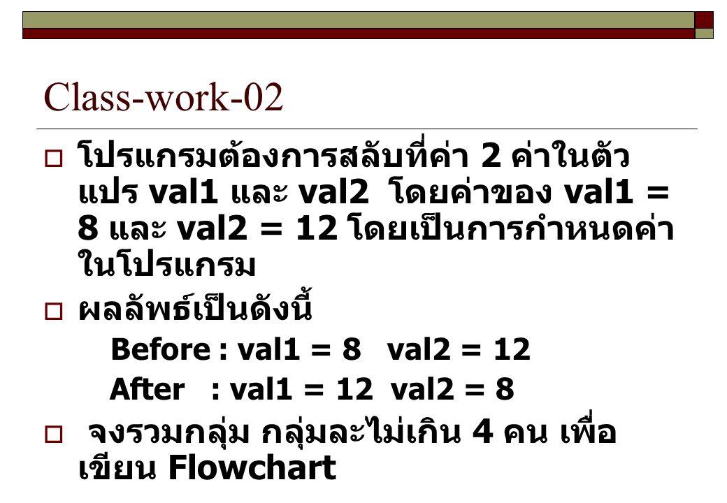 Class-work-02  โปรแกรมต้องการสลับที่ค่า 2 ค่าในตัว แปร val1 และ val2 โดยค่าของ val1 = 8 และ val2 = 12 โดยเป็นการกำหนดค่า ในโปรแกรม  ผลลัพธ์เป็นดังนี