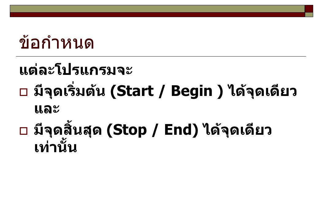 ข้อกำหนด แต่ละโปรแกรมจะ  มีจุดเริ่มต้น (Start / Begin ) ได้จุดเดียว และ  มีจุดสิ้นสุด (Stop / End) ได้จุดเดียว เท่านั้น