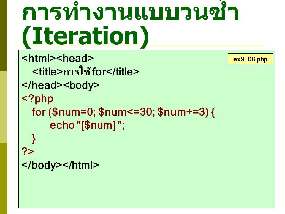 การทำงานแบบวนซ้ำ (Iteration) การใช้ for <?php for ($num=0; $num<=30; $num+=3) { echo