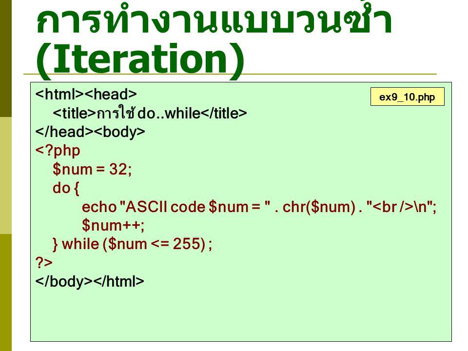 การทำงานแบบวนซ้ำ (Iteration) การใช้ do..while <?php $num = 32; do { echo