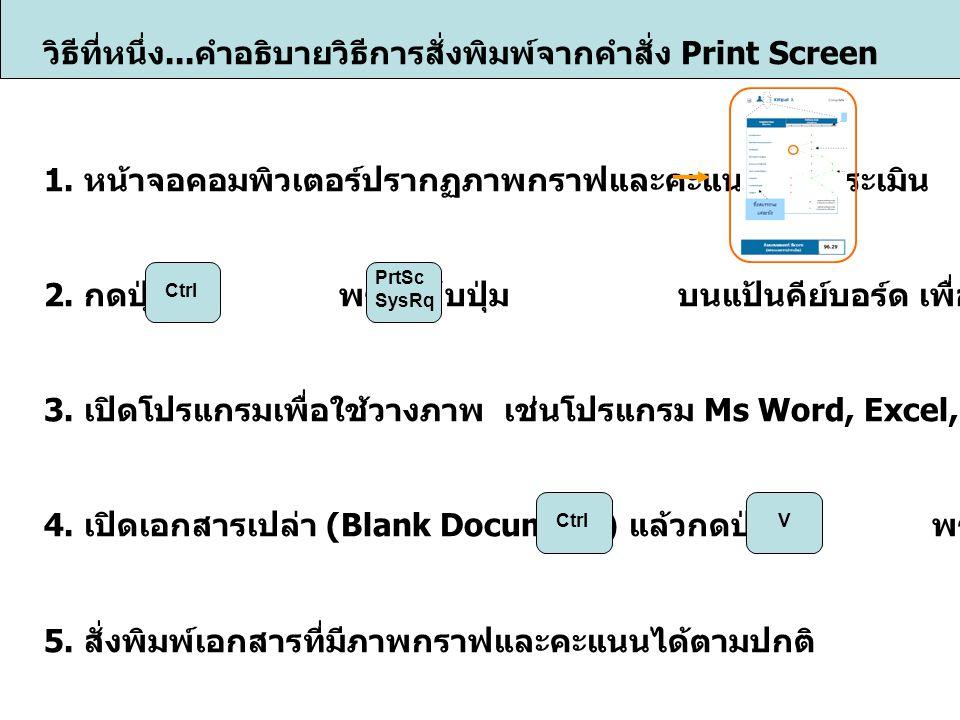 วิธีที่หนึ่ง... คำอธิบายวิธีการสั่งพิมพ์จากคำสั่ง Print Screen 1.