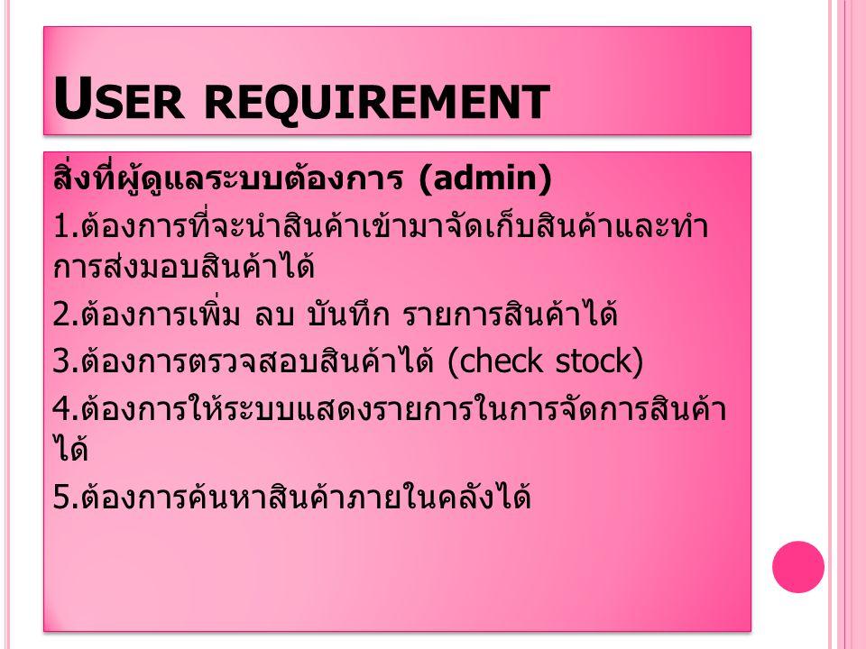 U SER REQUIREMENT ( ต่อ ) สิ่งที่ผู้ใช้งานต้องการ ( พนักงาน ) 1.