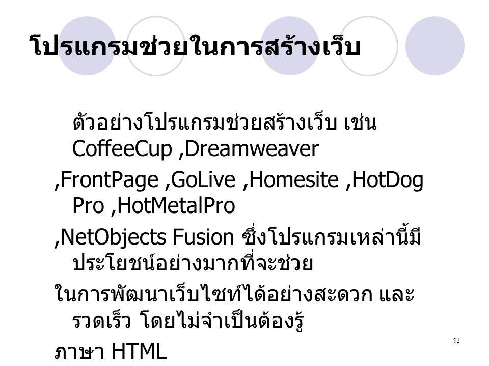 13 โปรแกรมช่วยในการสร้างเว็บ ตัวอย่างโปรแกรมช่วยสร้างเว็บ เช่น CoffeeCup,Dreamweaver,FrontPage,GoLive,Homesite,HotDog Pro,HotMetalPro,NetObjects Fusion ซึ่งโปรแกรมเหล่านี้มี ประโยชน์อย่างมากที่จะช่วย ในการพัฒนาเว็บไซท์ได้อย่างสะดวก และ รวดเร็ว โดยไม่จำเป็นต้องรู้ ภาษา HTML