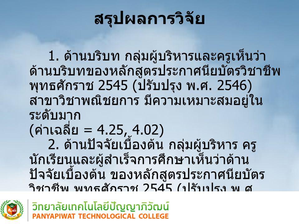 สรุปผลการวิจัย ( ต่อ ) 3.