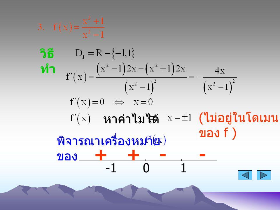 วิธี ทำ หาค่าไมได้ พิจารณาเครื่องหมาย ของ 01 ++-- ( ไม่อยู่ในโดเมน ของ f )