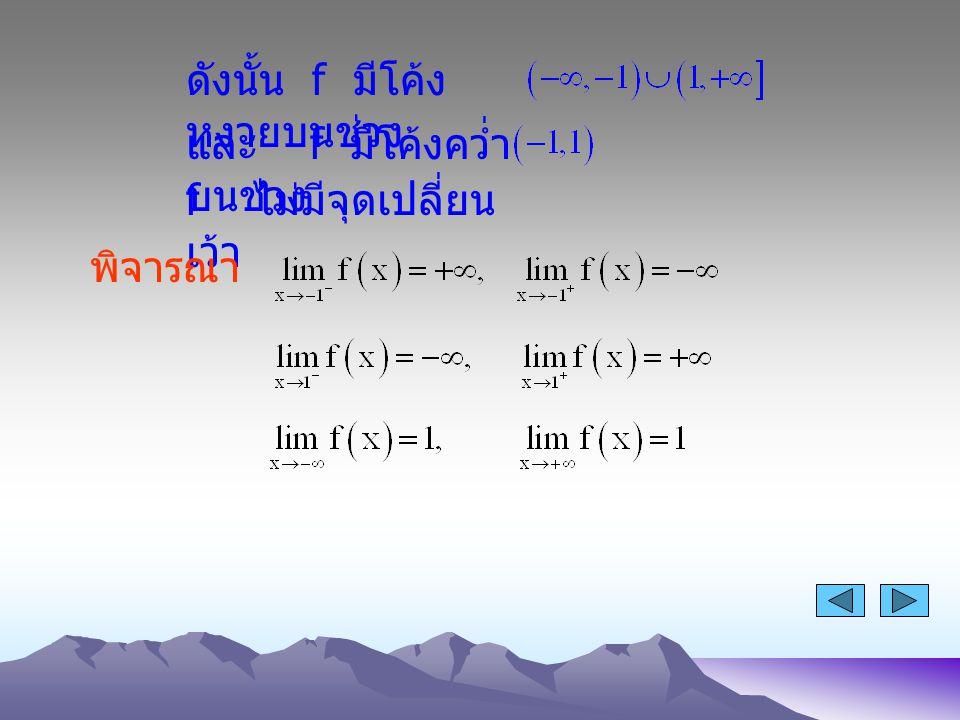 ดังนั้น f มีโค้ง หงายบนช่วง และ f มีโค้งคว่ำ บนช่วง f ไม่มีจุดเปลี่ยน เว้า พิจารณา