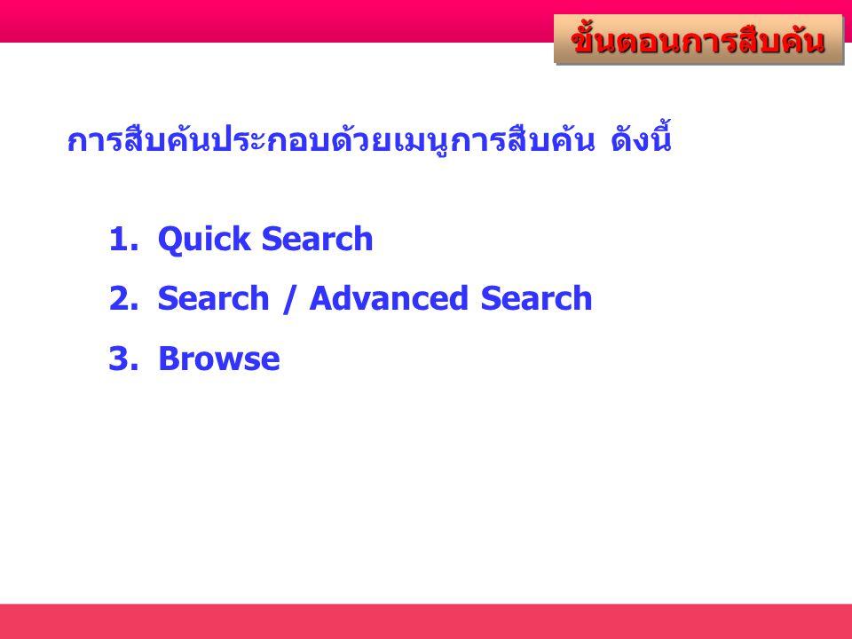 ขั้นตอนการสืบค้นขั้นตอนการสืบค้น การสืบค้นประกอบด้วยเมนูการสืบค้น ดังนี้ 1.Quick Search 2.Search / Advanced Search 3.Browse
