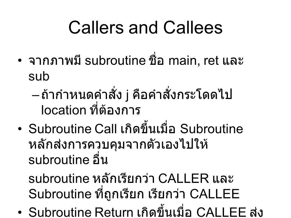 Callers and Callees จากภาพมี subroutine ชื่อ main, ret และ sub – ถ้ากำหนดคำสั่ง j คือคำสั่งกระโดดไป location ที่ต้องการ Subroutine Call เกิดขึ้นเมื่อ Subroutine หลักส่งการควบคุมจากตัวเองไปให้ subroutine อื่น subroutine หลักเรียกว่า CALLER และ Subroutine ที่ถูกเรียก เรียกว่า CALLEE Subroutine Return เกิดขึ้นเมื่อ CALLEE ส่ง การควบคุมกลับไปให้ CALLER