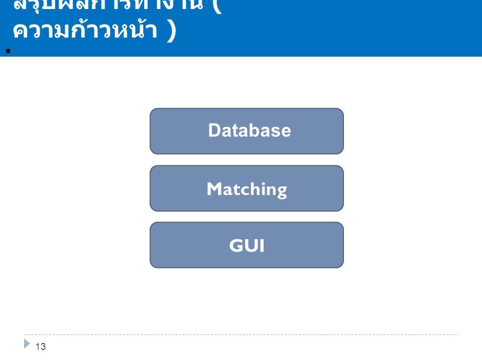 . สรุปผลการทำงาน ( ความก้าวหน้า ) GUI Matching Database 13