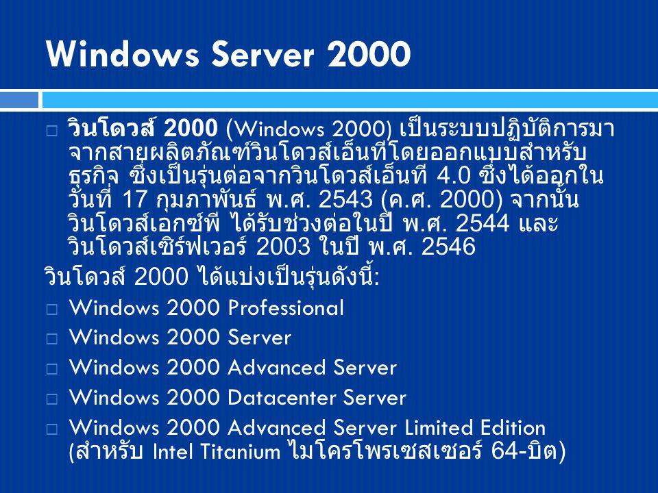 Windows Server 2000  วินโดวส์ 2000 (Windows 2000) เป็นระบบปฏิบัติการมา จากสายผลิตภัณฑ์วินโดวส์เอ็นทีโดยออกแบบสำหรับ ธุรกิจ ซึ่งเป็นรุ่นต่อจากวินโดวส์เอ็นที 4.0 ซึ่งได้ออกใน วันที่ 17 กุมภาพันธ์ พ.