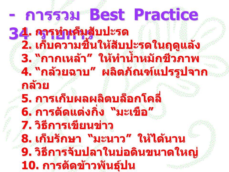 """- การรวม Best Practice 34 รายการ 1. การทำเค็มสับปะรด 2. เก็บความชื้นให้สับปะรดในฤดูแล้ง 3. """" กากเหล้า """" ให้ทำน้ำหมักชีวภาพ 4. """" กล้วยฉาบ """" ผลิตภัณฑ์แป"""