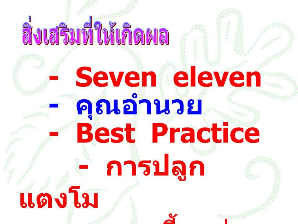 - Seven eleven - คุณอำนวย - Best Practice - การปลูก แตงโม - การเลี้ยงต่อ