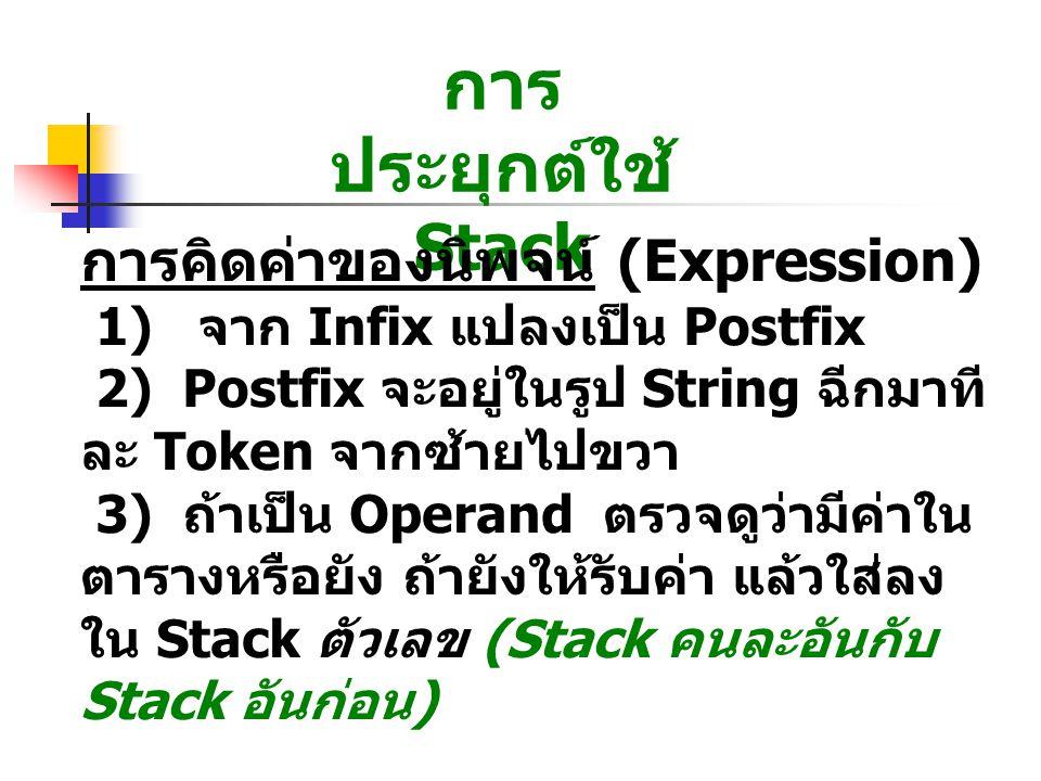การ ประยุกต์ใช้ Stack การคิดค่าของนิพจน์ (Expression) 1) จาก Infix แปลงเป็น Postfix 2) Postfix จะอยู่ในรูป String ฉีกมาที ละ Token จากซ้ายไปขวา 3) ถ้าเป็น Operand ตรวจดูว่ามีค่าใน ตารางหรือยัง ถ้ายังให้รับค่า แล้วใส่ลง ใน Stack ตัวเลข (Stack คนละอันกับ Stack อันก่อน )