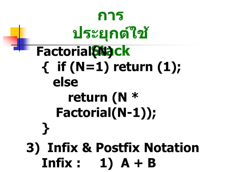 การ ประยุกต์ใช้ Stack Factorial(N) { if (N=1) return (1); else return (N * Factorial(N-1)); } 3) Infix & Postfix Notation Infix : 1) A + B 2) A + B * C