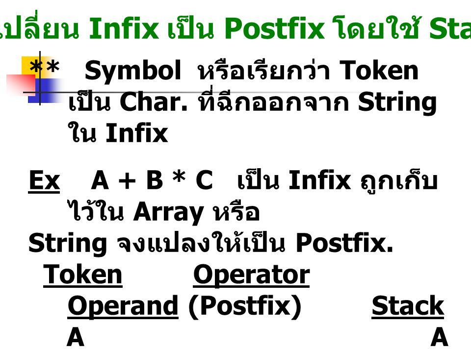 การเปลี่ยน Infix เป็น Postfix โดยใช้ Stack ** Symbol หรือเรียกว่า Token เป็น Char. ที่ฉีกออกจาก String ใน Infix Ex A + B * C เป็น Infix ถูกเก็บ ไว้ใน