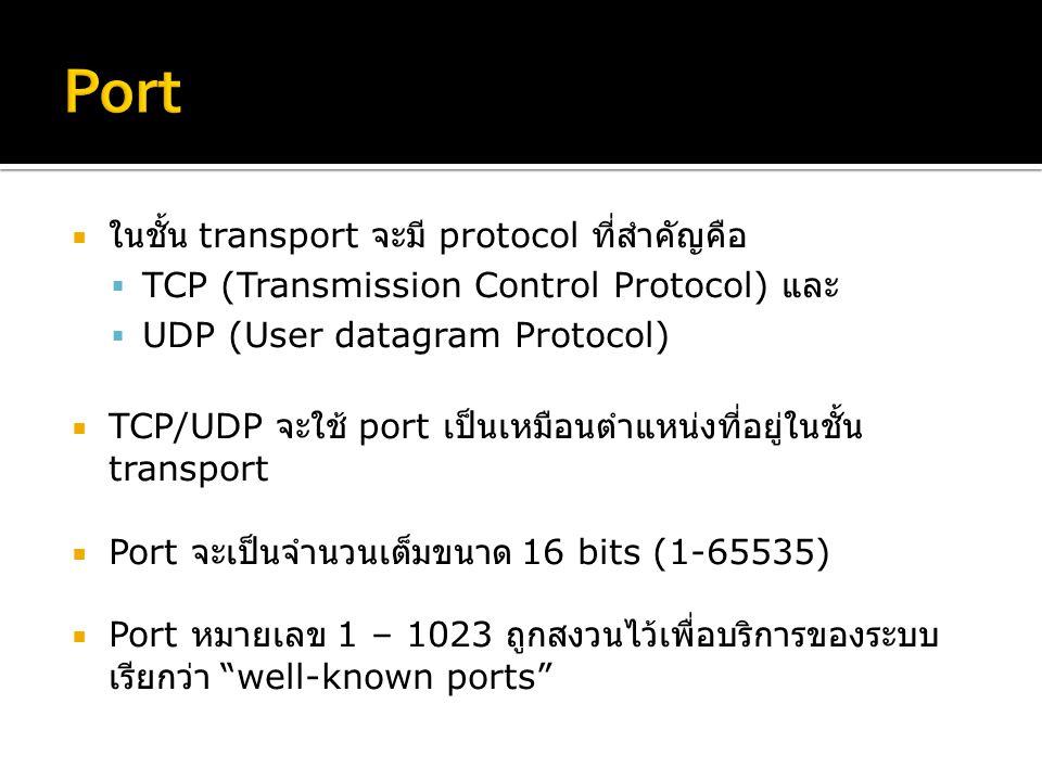  ในชั้น transport จะมี protocol ที่สำคัญคือ  TCP (Transmission Control Protocol) และ  UDP (User datagram Protocol)  TCP/UDP จะใช้ port เป็นเหมือนตำแหน่งที่อยู่ในชั้น transport  Port จะเป็นจำนวนเต็มขนาด 16 bits (1-65535)  Port หมายเลข 1 – 1023 ถูกสงวนไว้เพื่อบริการของระบบ เรียกว่า well-known ports